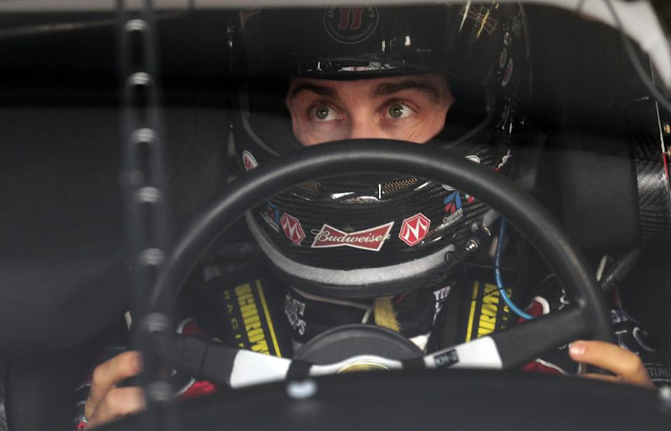 Driver Kevin Harvick prepares to practice for Sunday's running of the NASCAR Sprint Cup Series auto race at Talladega Superspeedway in Talladega, Ala., Friday, Oct. 18, 2013.