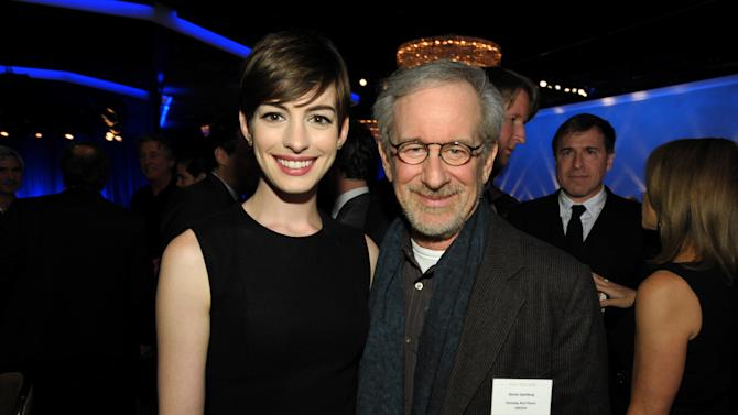 "Anne Hathaway, nominated for best actress in a supporting role for ""Les Miserables,"" left, and Steven Spielberg, nominated for best picture and best director for ""Lincoln,"" attend the 85th Academy Awards Nominees Luncheon at the Beverly Hilton Hotel on Monday, Feb. 4, 2013, in Beverly Hills, Calif. (Photo by John Shearer/Invision/AP)"