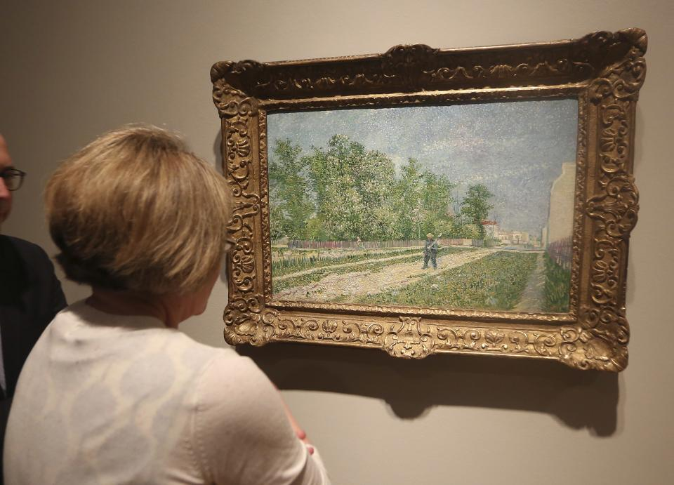 "A painting by Vincent van Gogh is viewed during a press preview of the exhibit  ""Hotel Texas: An Art Exhibition for the President and Mrs. John F. Kennedy,"" during a press preview at the Dallas Museum of Art Wednesday, May 22, 2013, in Dallas. (AP Photo/LM Otero)"