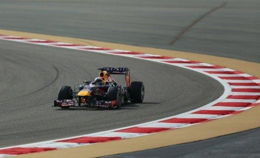 Red Bull Racing's German driver Sebastian Vettel drives at the Bahrain International Circuit in Manama on April 21, 2013