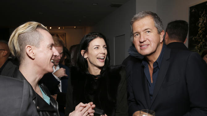 IMAGE DISTRIBUTED FOR PORTON - Jeremy Scott, Liberty Ross and Mario Testino celebrate the Peruvian native's Fashion Icon Exhibit with cocktails by Porton at Prism on Saturday February 23, 2013 in Los Angeles. (Photo by Todd Williamson/Invision for Porton/AP)