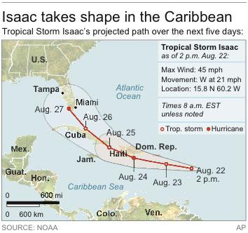 Map locates Tropical Storm Isaac and its projected path for the next five days