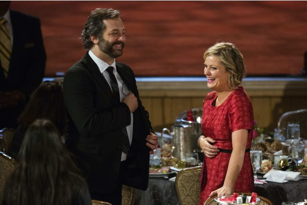 Producer Judd Apatow laughs with actress Amy Poehler at the Peabody Awards in New York