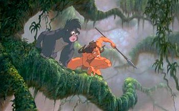 Tarzan and his gorilla friend Terk in Disney's Tarzan