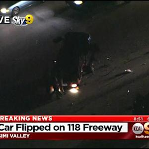 Car Flips On 118 Freeway, 3 Injured