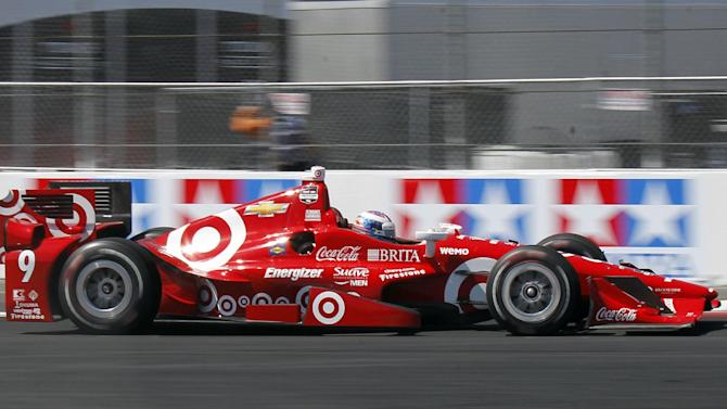 Scott Dixon, of New Zealand, drives to win the IndyCar Toyota Grand Prix of Long Beach auto race, Sunday, April 19, 2015, in Long Beach, Calif. (AP Photo/Alex Gallardo)