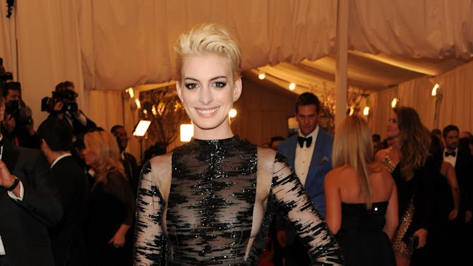 "Actress Anne Hathaway attends The Metropolitan Museum of Art's Costume Institute benefit celebrating ""PUNK: Chaos to Couture"" on Monday, May 6, 2013 in New York. (Photo by Evan Agostini/Invision/AP)"