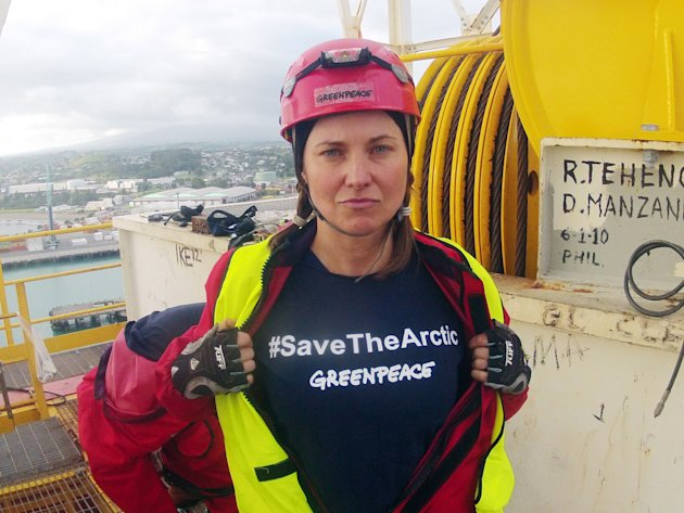 FILE - In this Feb. 24, 2012 file photo provided by Greenpeace, actress Lucy Lawless joins activists in stopping a Shell-contracted drillship from departing the port of Taranaki, New Zealand. Lawless