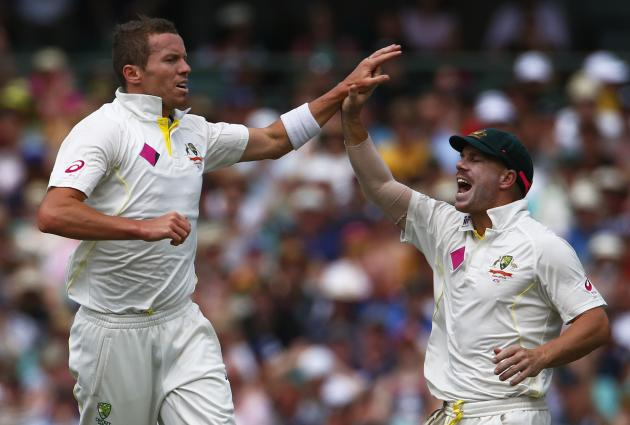 Australia's Siddle celebrates with Warner after taking the wicket of England's Bell during the second day of the fifth Ashes cricket test at the Sydney cricket ground