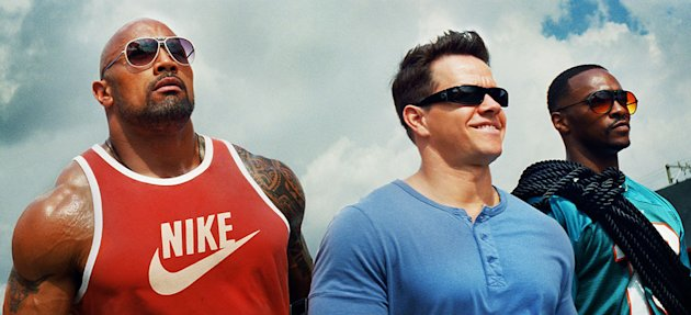 Dwayne Johnson, Mark Wahlberg & Anthony Mackie in Paramount Pictures' 'Pain & Gain')
