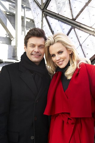 Entertainers Ryan Seacrest, left, and Jenny McCarthy, hosts of Dick Clark&#39;s New Year&#39;s Rockin&#39; Eve on ABC, pose for a portrait Friday, Dec. 28, 2012 in New York. As New Year&#39;s Eve nears, Seacrest is focused on getting ready for the show, which, with related programming, will blanket ABC from 8 p.m. until past 2 a.m. EST. (Photo by Dan Hallman/Invision/AP Images)
