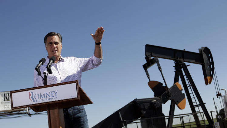 Republican presidential candidate, former Massachusetts Gov. Mitt Romney speaks at a campaign stop held at KP Kauffman Co., an oil and gas production and drilling company in Fort Lupton, Colo.,Wednesday, May 9, 2012. (AP Photo/Jae C. Hong)