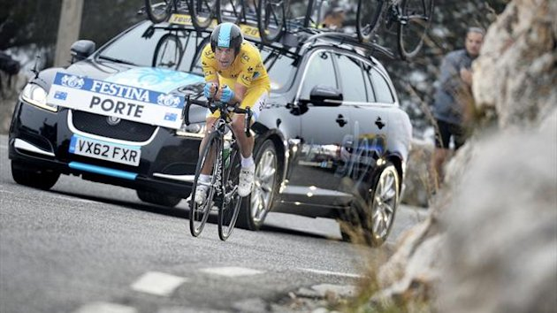 Richie Porte competes during the seventh and last stage (time trial) of the 71st Paris-Nice cycling race (AFP)