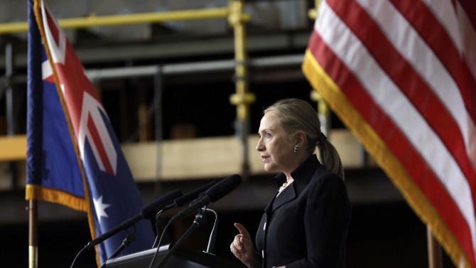 U.S. Secretary of State Hillary Rodham Clinton speaks at the Techport Australia shipbuilding facility near Adelaide, Australia Thursday, Nov. 15, 2012. (AP Photo/Matt Rourke, Pool)