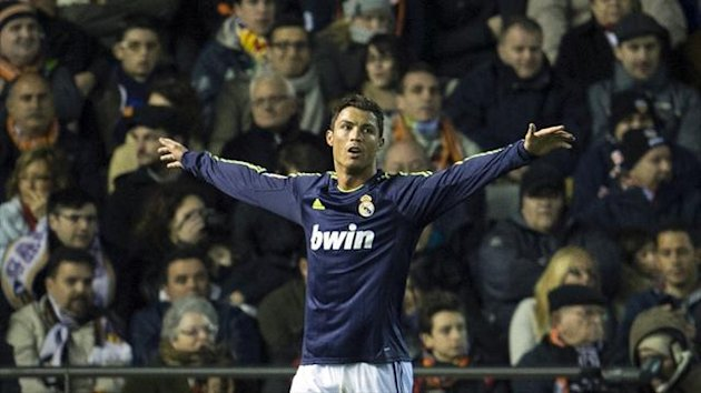 Real Madrid&#39;s Cristiano Ronaldo celebrates after scoring during the Liga match against Valencia at the Mestalla (AFP)
