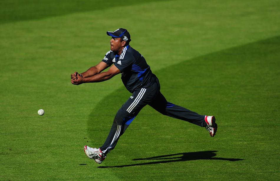 (CPOTW September 9) CHESTER-LE-STREET, ENGLAND - SEPTEMBER 07:  England player Samit Patel in action during England nets at Emirates Durham ICG on September 7, 2012 in Chester-le-Street, England.  (Ph