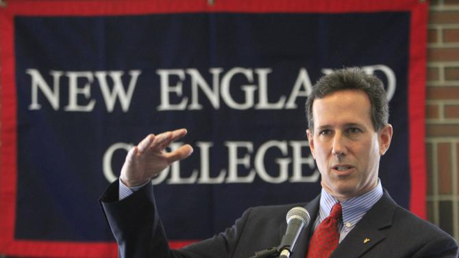 Possible 2012 Republican presidential candidate, former U.S. Sen. Rick Santorum of Pennsylvania talks about the budget with students at New England College, Thursday, April 14, 2011 in Henniker, N.H. Republicans eyeing the White House assailed President Barack Obama's deficit-reduction proposal and cast him as a tax-raising liberal who is failing to lead a nation on the brink of fiscal catastrophe. (AP Photo/Jim Cole)