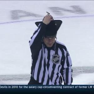 Ref puts on Cowboy hat after Hat Trick