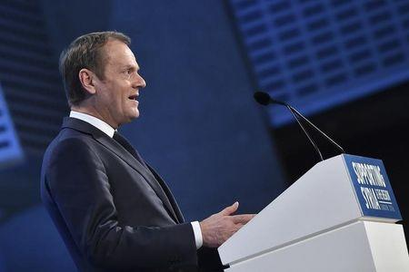 European Council President Donald Tusk addresses delegates at the donors Conference for Syria in London