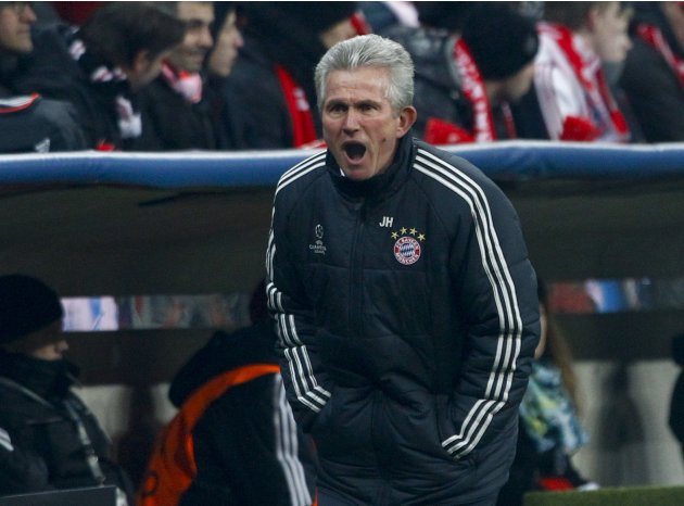Bayern Munich coach Heynckes reacts during his team's Champions League round of 16 second leg soccer match against Arsenal in Munich