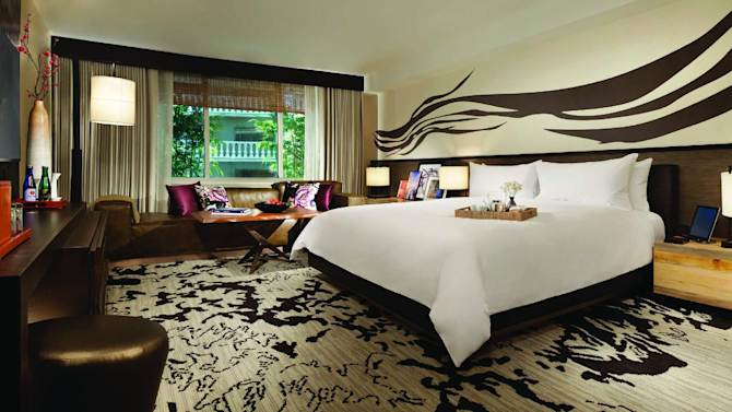 This Feb. 2, 2013 photo provided by the Nobu Hotel shows a king room at the new Nobu Hotel and Restaurant in Las Vegas, Nevada. The 181-room Nobu hotel merges into the 327-seat restaurant, now the largest Nobu in the world. (AP Photo/Nobu Hotel, Eric Kabik)