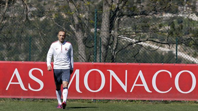 AS Monaco's Dimitar Berbatov attends a training session on the eve of their Champions League soccer match against Juventus in La Turbie