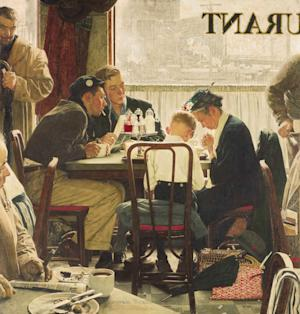 """This undated file photo provided by Sotheby's shows the popular Norman Rockwell masterpiece """"Saying Grace,"""" which is heading for the auction block. It is among seven works by The Saturday Evening Post illustrator going on sale at Sotheby's in New York on Dec. 4. (AP Photo/Sotheby's, File)"""