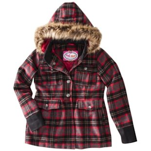 Wool Plaid Hooded Peacoat, $27.99