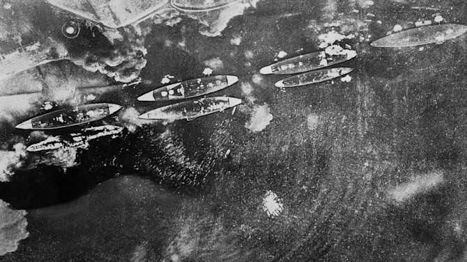 FILE - This Dec. 7, 1941 image shows a Japanese Navy aerial view of smoking U.S. ships during the attack on Pearl Harbor, Hawaii. (AP Photo/Japanese Navy)