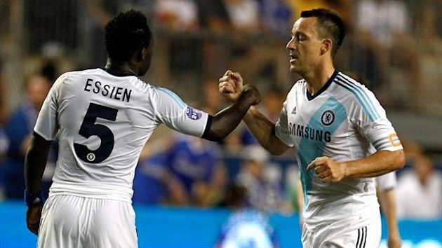 John Terry celebrates with Michael Essien after scoring in the first half against the MLS All-Stars at PPL Park (Reuters)