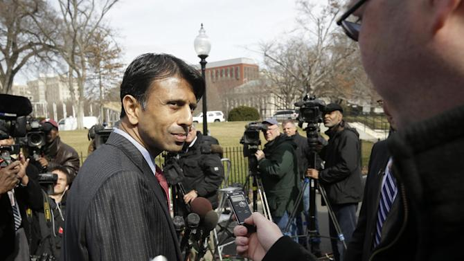 Louisiana Gov. Bobby Jindal takes questions from members of the media outside the White House in Washington, Monday, Feb. 25, 2013, following meeting between members of the National Governors Association (NGA) and President Barack Obama. (AP Photo/Pablo Martinez Monsivais)