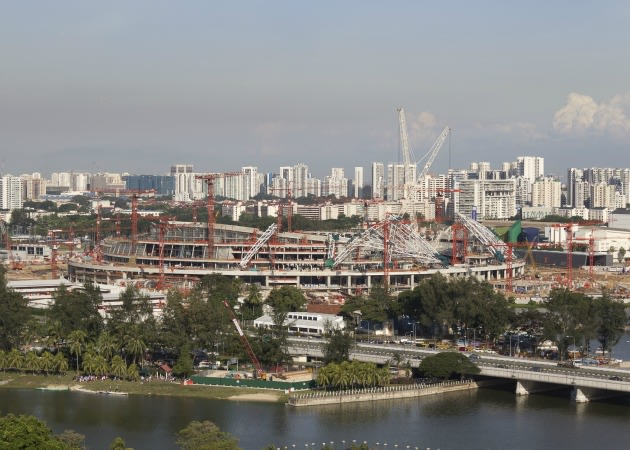 Construction of the National Stadium roof is underway. (Photo courtesy of Arup)