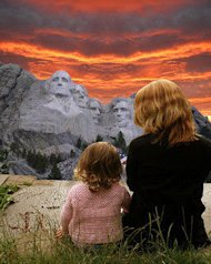 mother &amp; child at mt rushmore photo