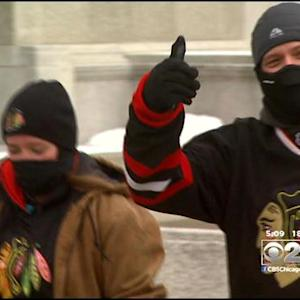 Fans Prepare For Snow At Blackhawks Game