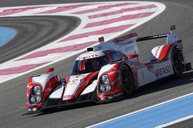The new Toyota Motorsport GmbH car for  the Le Mans 24 hours Endurance race speeds around the course during a presentation for the press at the southern France circuit of Le Castellet, near Marseille,