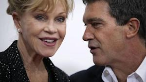 """Antonio Banderas and wife Melanie Griffith arrive for the premiere of the movie """"Black Nativity"""" in New York"""