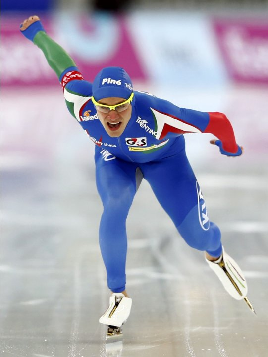 Nenzi of Italay competes during the men's 1000m event at the Essent ISU World Single Distances Championships 2013 in Sochi