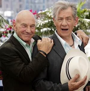 """FILE - This May 22, 2006 file photo shows actors Patrick Stewart, left, and Ian McKellen during a photo call for the film """"X-Men: The Last Stand,"""" at the 59th International film festival in Cannes, southern France. McKellen and Patrick Stewart will team up on Broadway this fall in two of the most iconic plays of the 20th century. Producers said Thursday, Jan. 24, 2013, that Stewart and McKellen will star in Harold Pinter's """"No Man's Land"""" and Samuel Beckett's """"Waiting for Godot"""" in repertoire under the direction of Sean Mathias. The theatre, performance dates and schedule will be announced later. (AP Photo/Jeff Christensen, file)"""