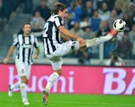 Juventus' forward Alessandro Matri controls the ball during an Italian Serie A football match against Roma at the Juventus stadium in Turin. Juventus won 4-1