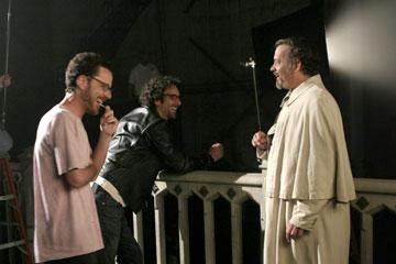 Producer Ethan Coen and director Joel Coen with star Tom Hanks on the set of Touchstone Pictures' The Ladykillers