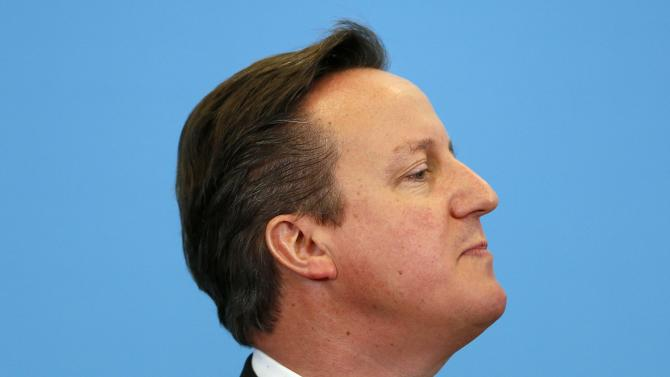 Britain's Prime Minister David Cameron delivers a speech at a community centre in Bursledon, southern England
