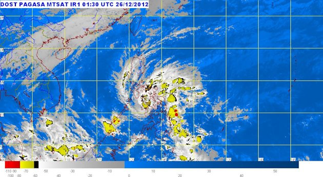 Tropical Storm Quinta (Wukong) weakened and slowed down after making landfall over Leyte province at midnight Tuesday and started crossing Camotes Island in Central Visayas early Wednesday (Photo from Pagasa, 9:30 a.m. Dec 26, 2012)