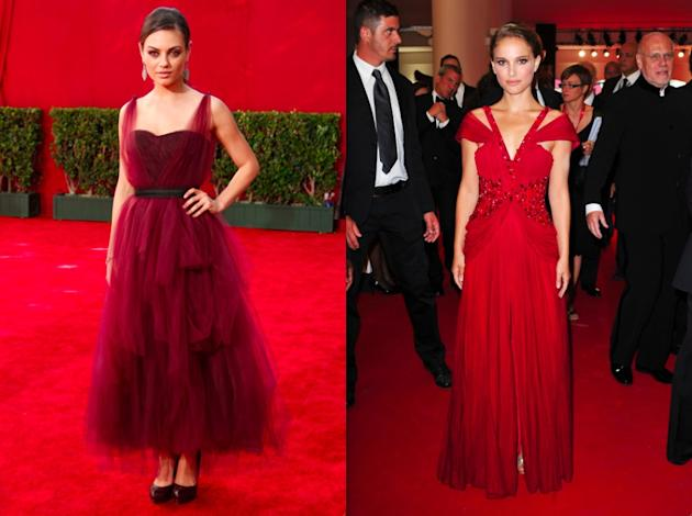 Mila and Natalie in deep red gowns