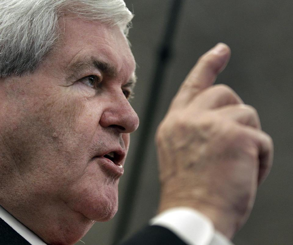 Republican presidential hopeful, former House Speaker Newt Gingrich speaks at a Hy-Vee store in Mt Pleasant, Iowa, Tuesday, Dec. 20, 2011. (AP Photo/Charlie Riedel)