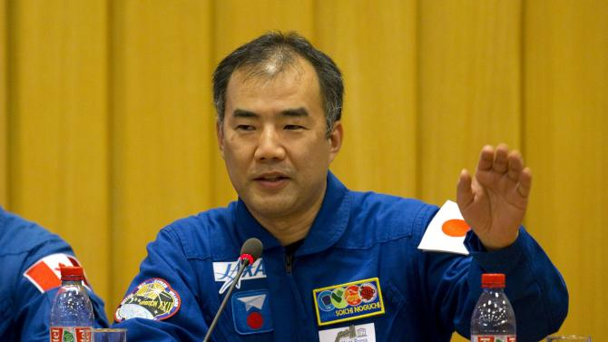 Soichi Noguchi, Japan Aerospace Exploration Agency chief astronaut, attends a news conference to preview the upcoming year-long expedition and to discuss the future of the International laboratory at the UNESCO Headquarters in Paris