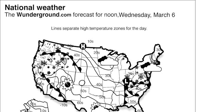 Showers, periods of rain, and thunderstorms will continue from the Mid-Atlantic into New England Wednesday March 6, 2013 and snow showers will persist in the Central Appalachians as the winter storm impacting the area moves offshore into the Atlantic Ocean. (AP Photo/Weather Underground)