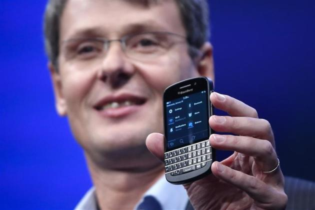 RIM President and CEO Heins introduces a new RIM Blackberry 10 device during their launch in New York