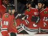 Chicago Blackhawks&#39; Patrick Kane (88) celebrates with teammates after scoring a goal against the Detroit Red Wings during the first period of Game 2 of an NHL hockey Stanley Cup playoffs Western Conference semifinals Saturday, May 18, 2013, in Chicago. (AP Photo/Nam Y. Huh)