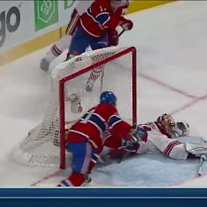 Mike Smith sprawls out for a save on Eller