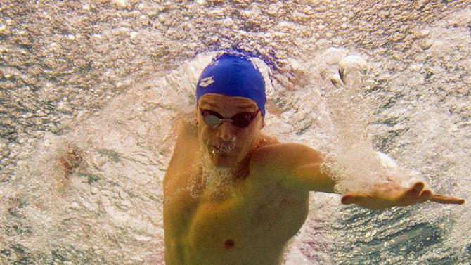 Yannick Agnel competes in the men's 100m freestyle event, at the French swimming championships in Chartres, on April 11, 2014